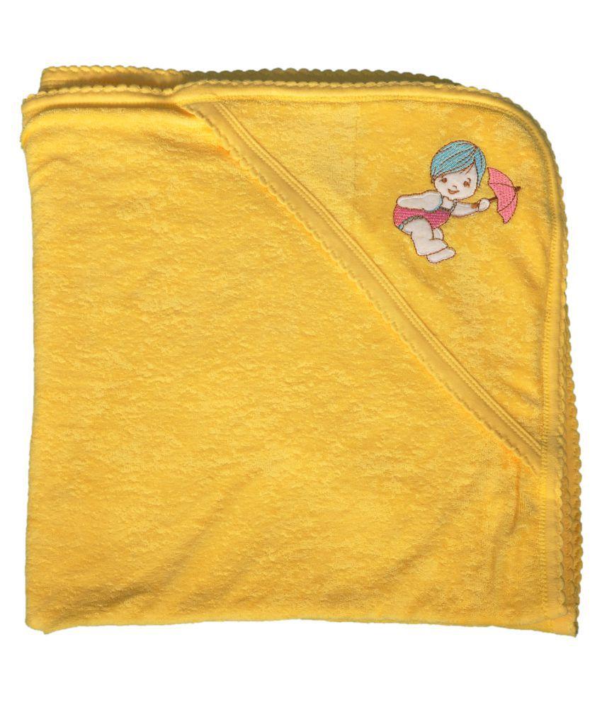 SK NAREN Yellow Cotton Baby Wrap cum blanket ( 70 cm × 70 cm - 1 pcs)
