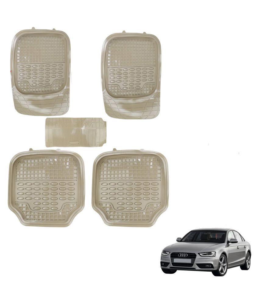 Auto Addict Car 4G Beige Rubber PVC Heavy Mats Set Of 5 Pcs For Audi A4