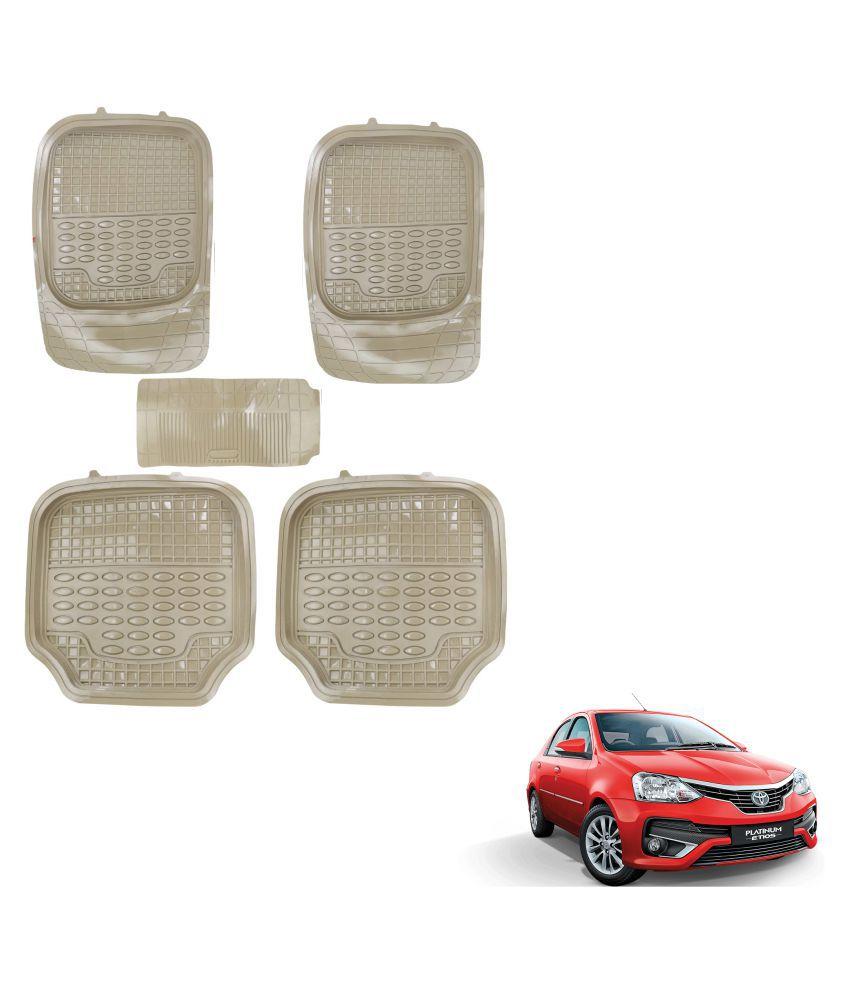 Auto Addict Car 4G Beige Rubber PVC Heavy Mats Set Of 5 Pcs For Toyota Etios Platinum