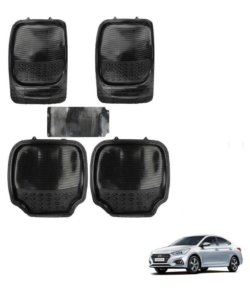 Auto Addict Car 4G Black Rubber PVC Heavy Mats Set Of 5 Pcs For Hyundai Verna Nextgen 2017