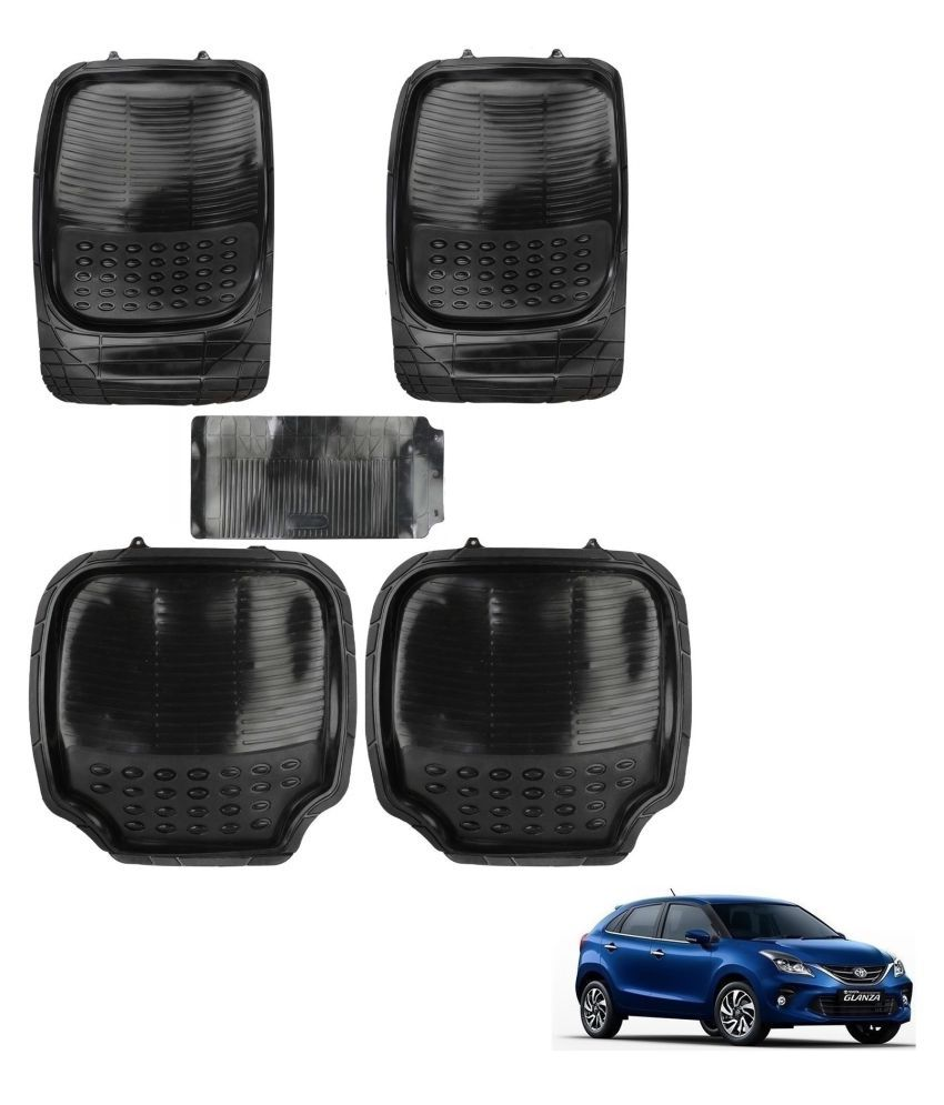 Auto Addict Car 4G Black Rubber PVC Heavy Mats Set Of 5 Pcs For Toyota Glanza
