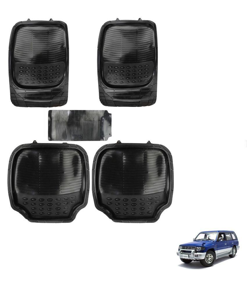 Auto Addict Car 4G Black Rubber PVC Heavy Mats Set Of 5 Pcs For Mitsubishi Pajero
