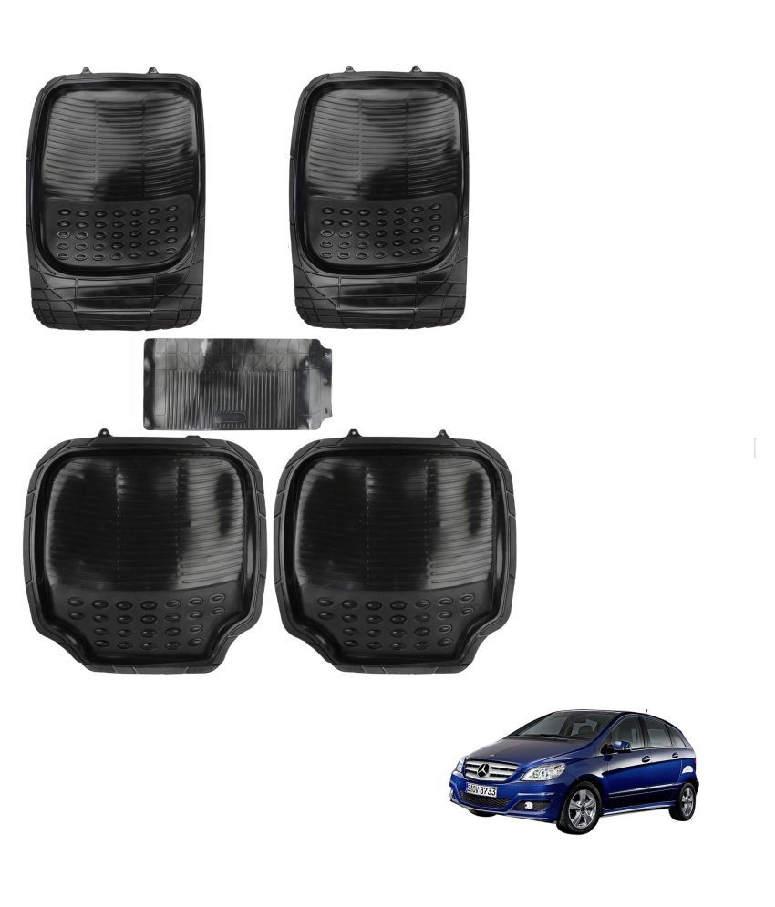 Auto Addict Car 4G Black Rubber PVC Heavy Mats Set Of 5 Pcs For Mercedes Benz B-Class Electric