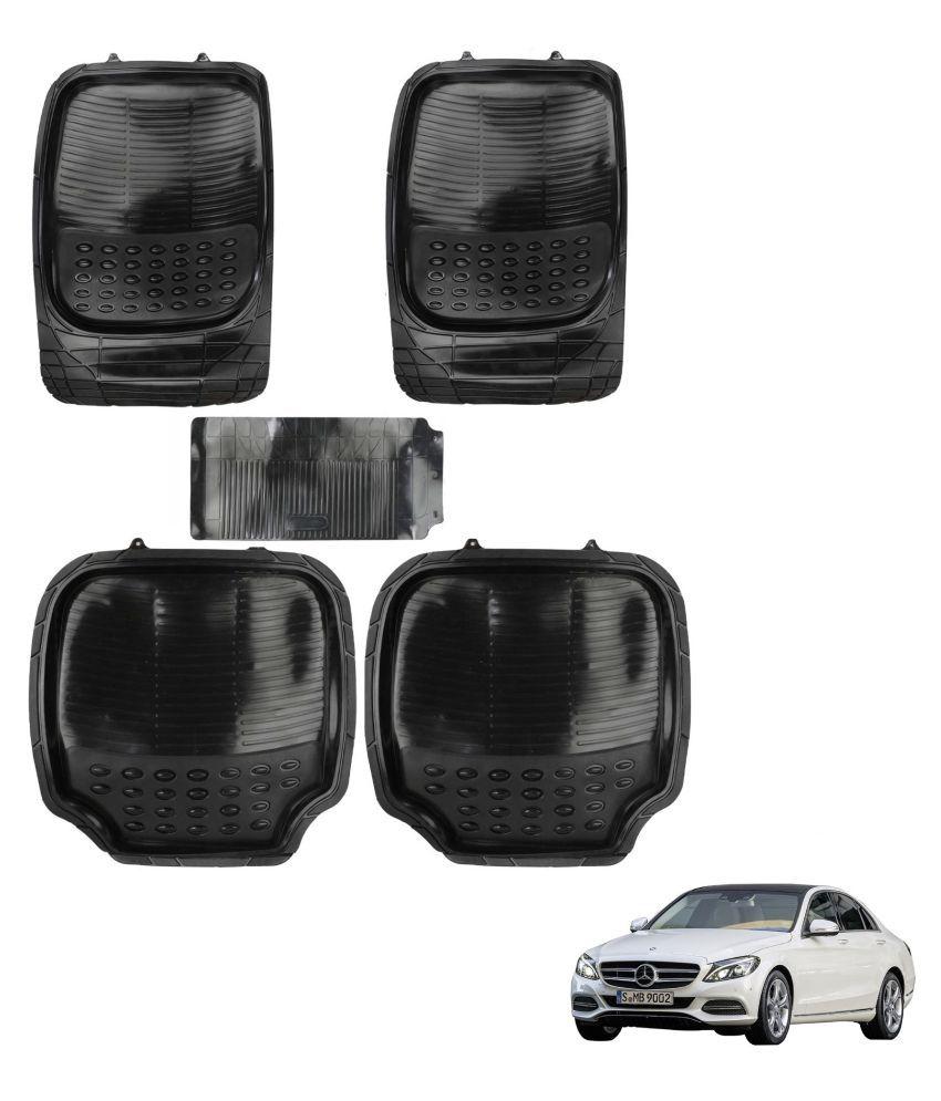 Auto Addict Car 4G Black Rubber PVC Heavy Mats Set Of 5 Pcs For Mercedes Benz C-Class