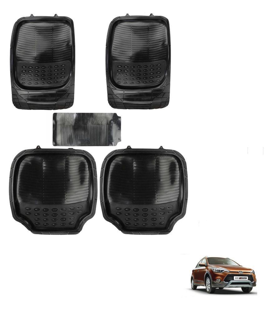 Auto Addict Car 4G Black Rubber PVC Heavy Mats Set Of 5 Pcs For Hyundai i20 Active