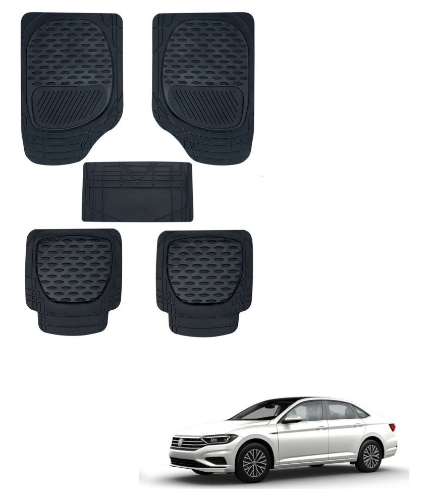 Auto Addict Car 6255 TW Rubber PVC Heavy Mats Black Color Set Of 5 Pcs For Volkswagen New Jetta (2015-Present)