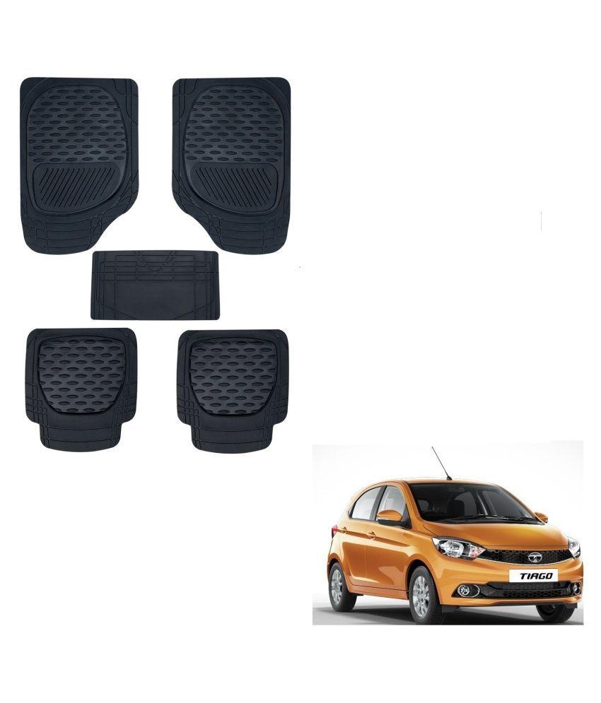 Auto Addict Car 6255 TW Rubber PVC Heavy Mats Black Color Set Of 5 Pcs For Tata Tiago