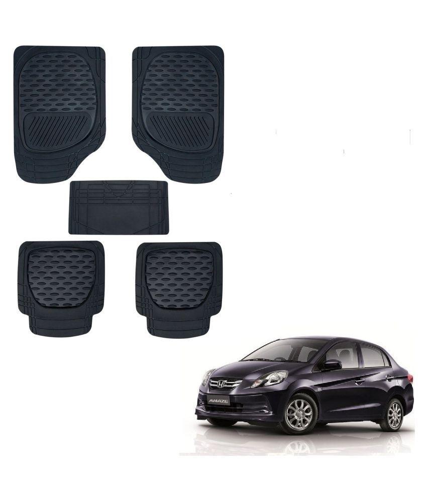 Auto Addict Car 6255 TW Rubber PVC Heavy Mats Black Color Set Of 5 Pcs For Honda Old Amaze (2013-2017)