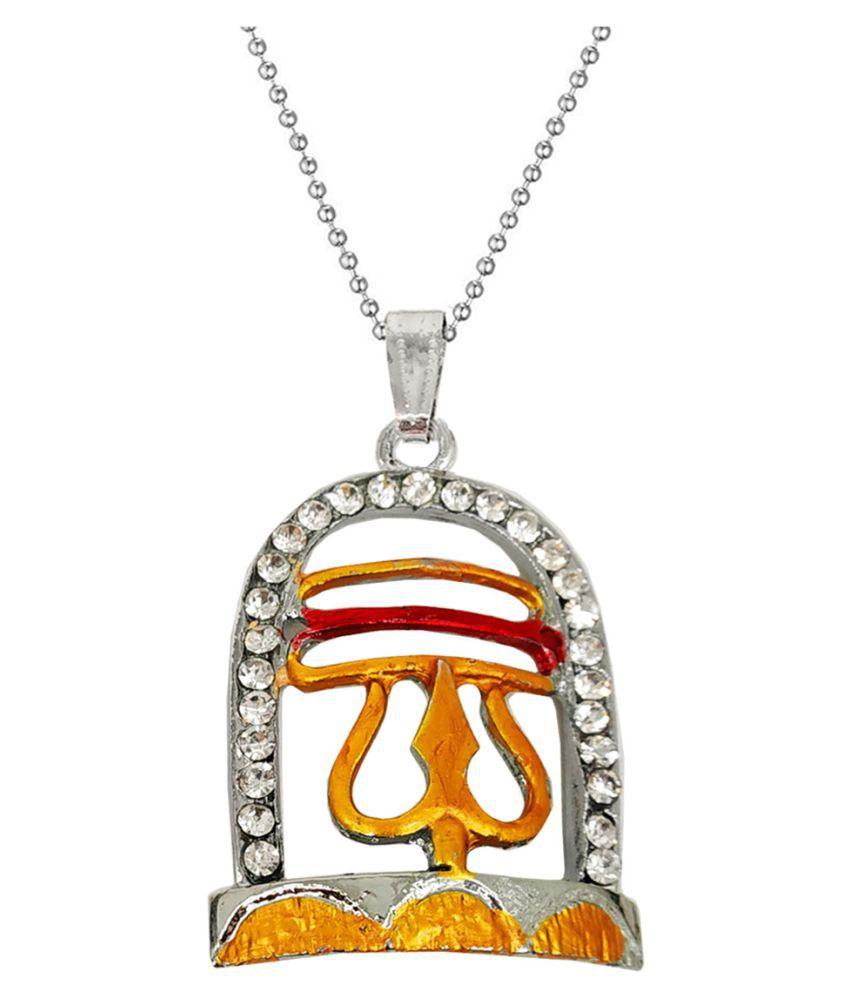 Men Style  Om ShivLing Trishula Locket With Chain Cubic Zirconia Zinc, Metal Pendant Set