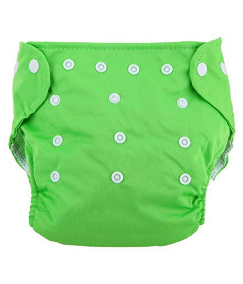 Cloth Diaper Reusable Nappy Washable Free Size Adjustable Waterproof (Green)