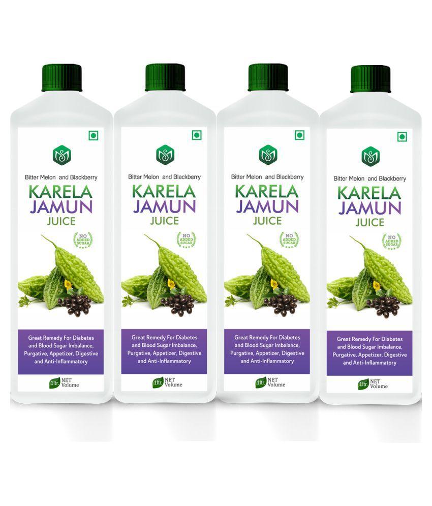 Scorlife Karela Jamun Diabetes Juice Health Drink 1000 ml Pack of 4