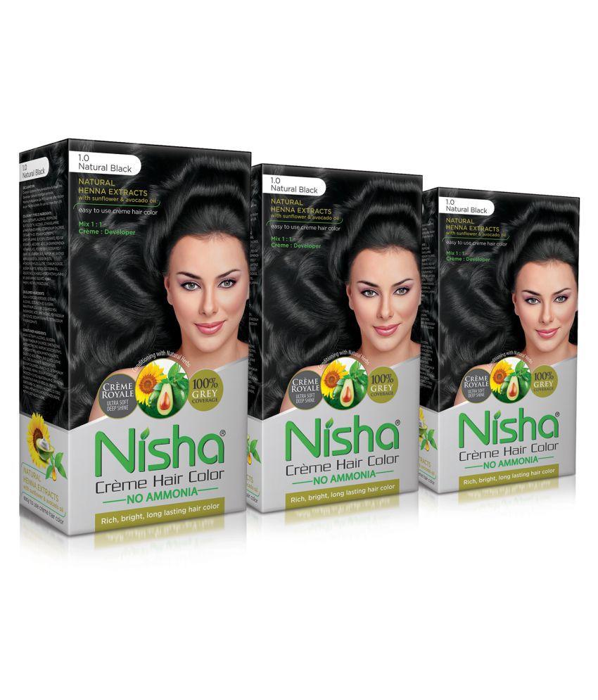 Nisha Natural Black (60gm, 60ml, 12ml) Cream Permanent Hair Color Black 120 mL Pack of 3