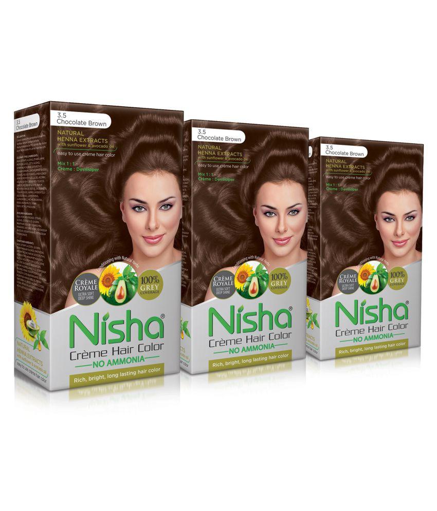 Nisha Chocolate Brown 3.5 (60gm, 60ml, 12ml) Cream Permanent Hair Color Brown 120 mL Pack of 3