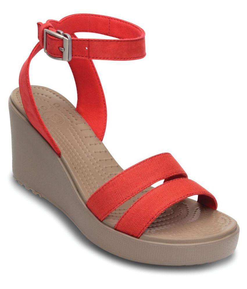 Crocs Red Wedges Heels