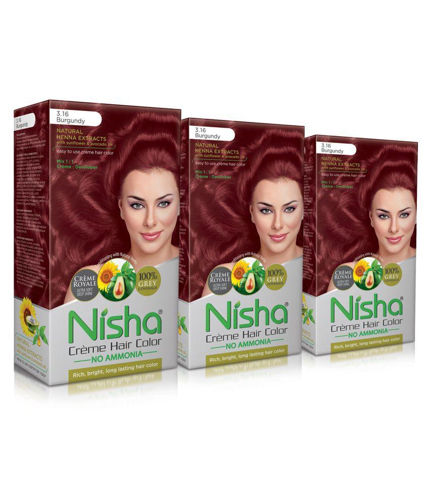 Nisha Burgundy 3.16 (60gm, 60ml, 12ml) Cream Permanent Hair Color Burgundy Burgundy 3.16 120 mL Pack of 3