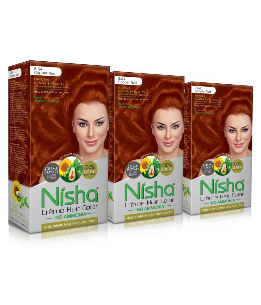 Nisha Copper Red 5.64 (60gm, 60ml, 12ml) Cream Permanent Hair Color Red Copper Red 5.64 120 mL Pack of 3