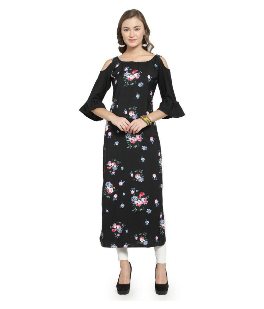 Enchanted Drapes Black Crepe Straight Kurti