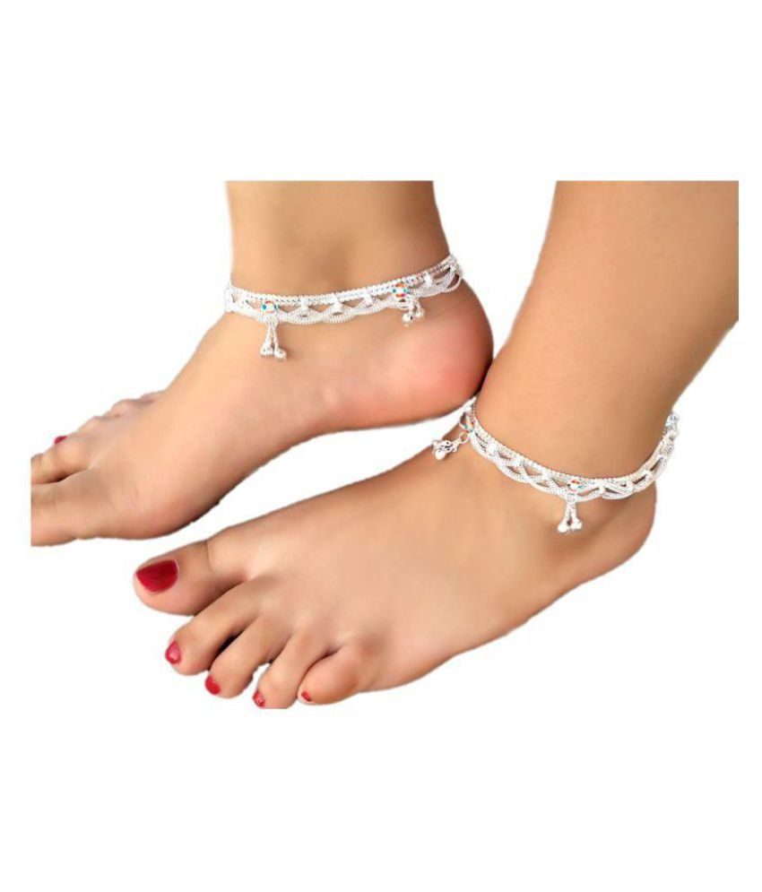 Womensky Silver Payal Antique Traditional Fancy Silver  Payal/Anklet/Pajeb/Payjeb/Painjan/Ghungroo/Anklet Bracelet/Pattilu for Women and girls