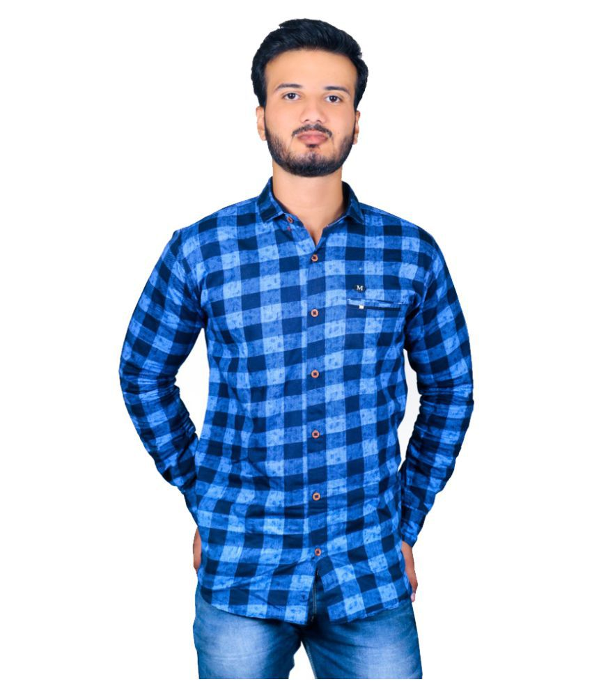 Mafia Cotton Blend Blue Checks Shirt