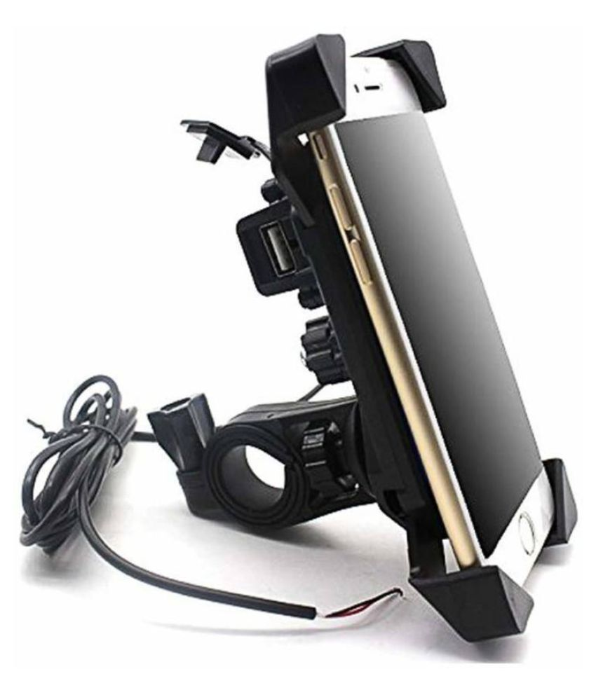 Universal Motorcycle Rotating Cell Phone Stand Mount Holder USB Charger for  All Android Windows Smartphone Upto 7 inches Display Bike Mobile Holder