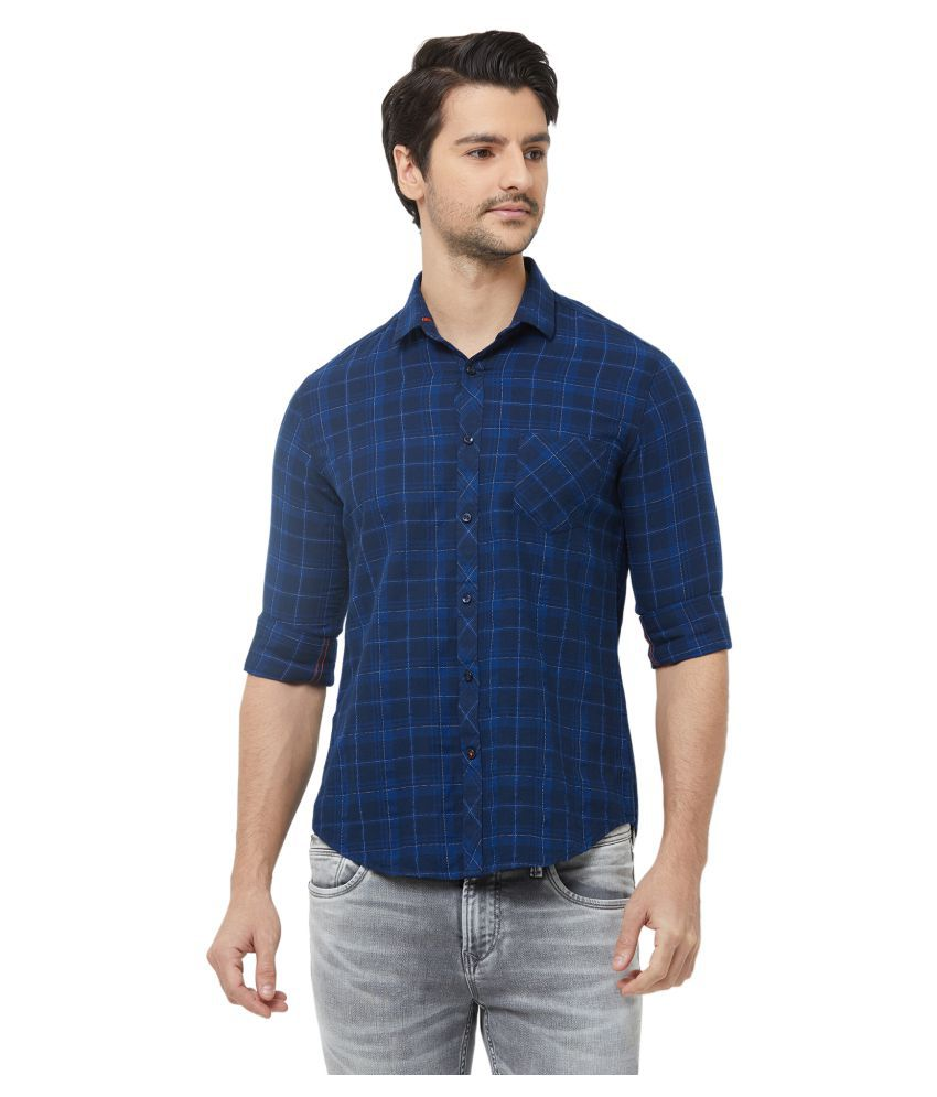 Killer 100 Percent Cotton Blue Checks Shirt
