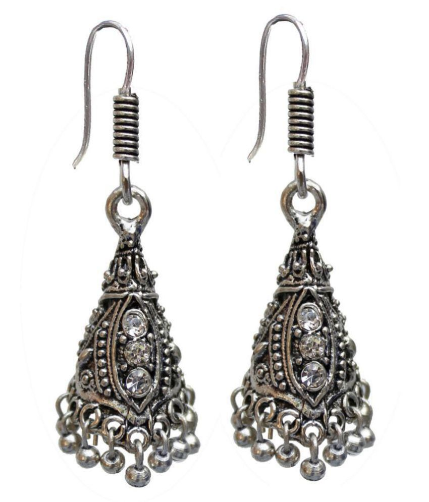 Lucky Jewellery Trendy Silver Color Oxidised Plating Earring For Girls & Women