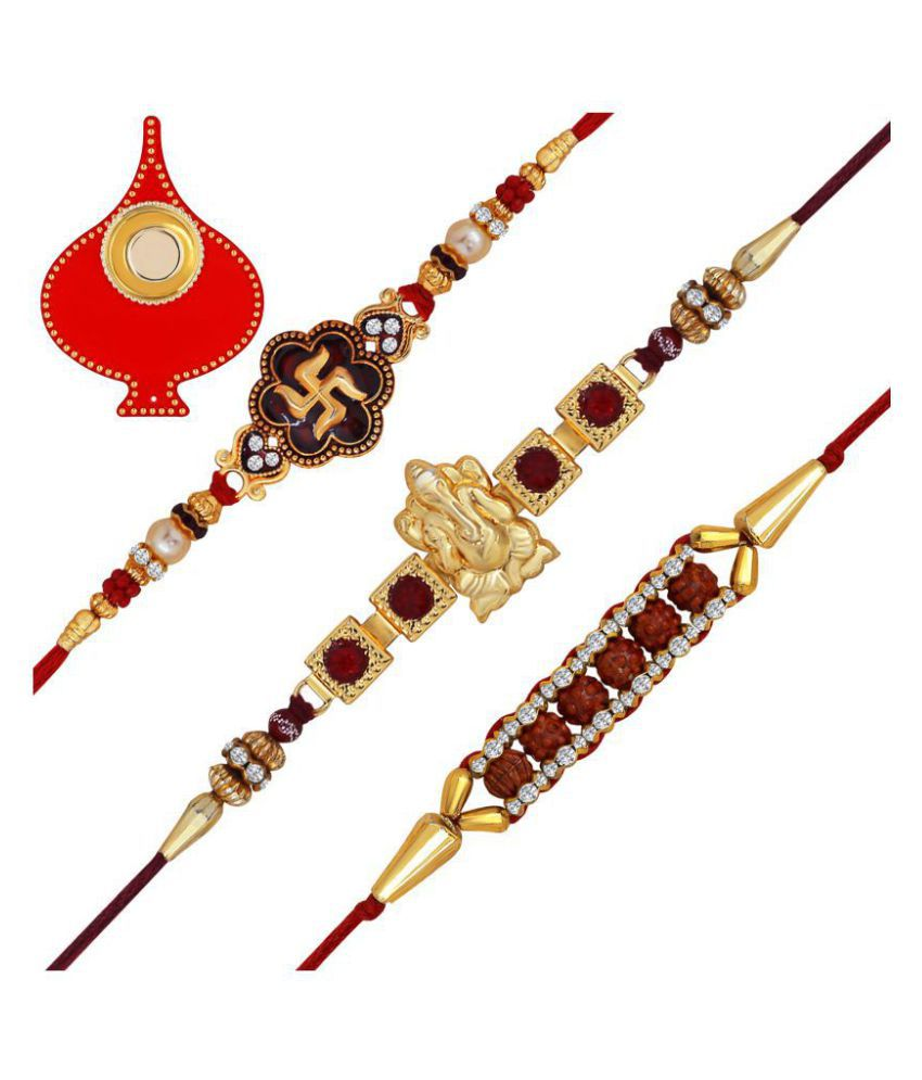 Om Jewells Rakshabandhan Gifts Combo of 3 Classic Swastika Ganesha and Rudraksha Studded Rakhi for Beloved Brother CO1000154