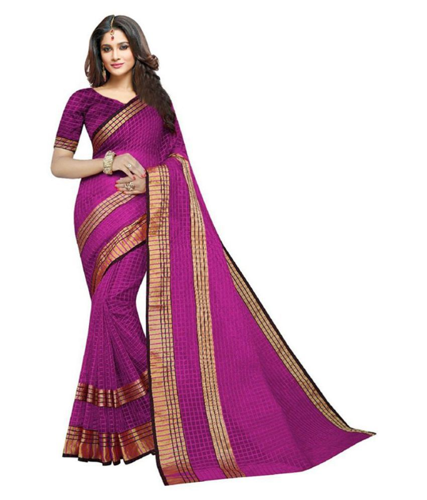 Ruchika Fashion Pink Cotton Silk Saree
