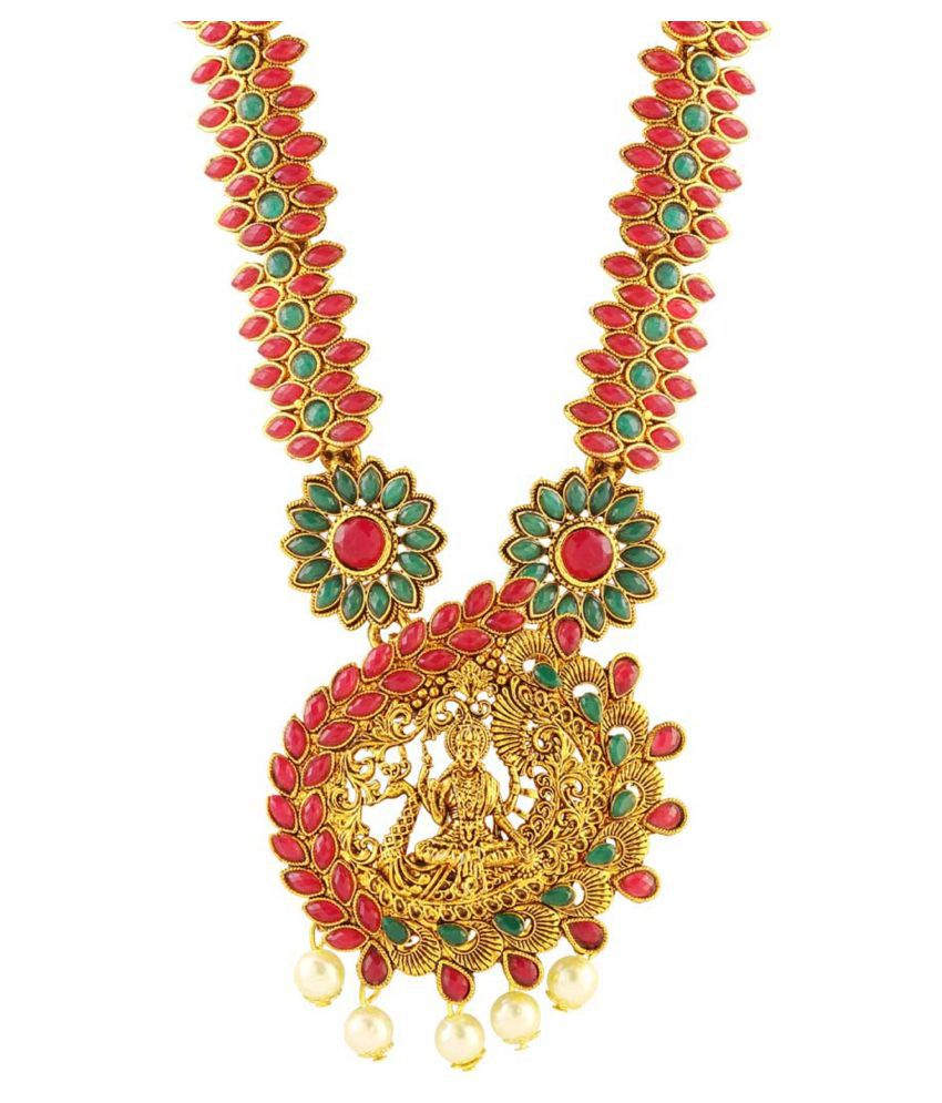 Matushri Art Alloy Golden Long Haram Traditional Gold Plated