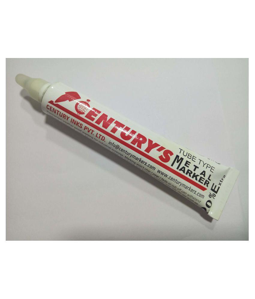 Century 2MM White Permanent Metal Marker Tube Type