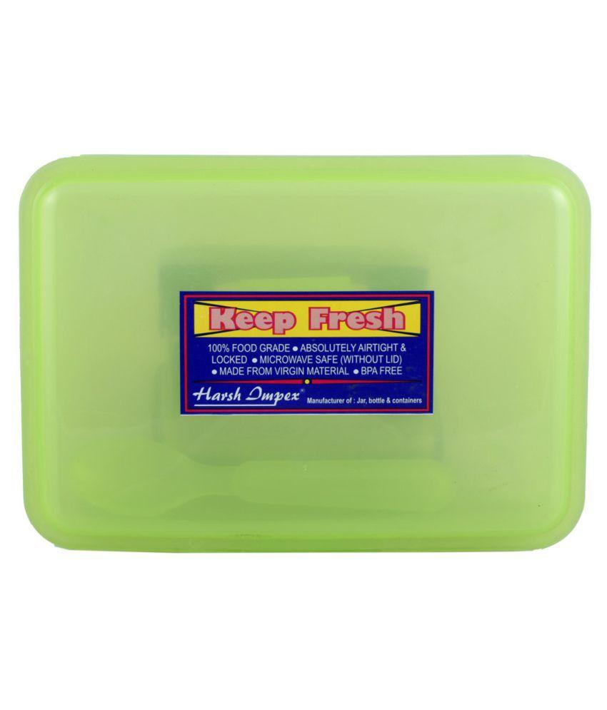 Harshpet Green Polypropylene (PP) Lunch Box