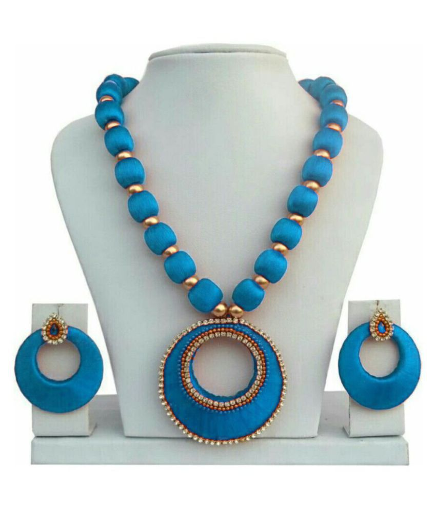 Maahi Creations Blue Contemporary Designer Gold Plated Necklaces Set