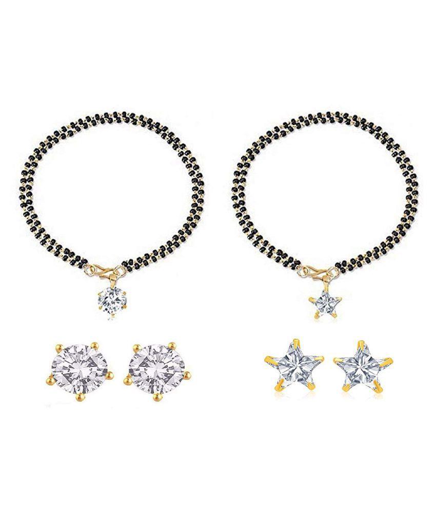 Mangalsutra Bracelet Designer Gold Plated Hand Bracelet Bangle Style Mangalsutra and Earring For Women, SET OF 2 PCS