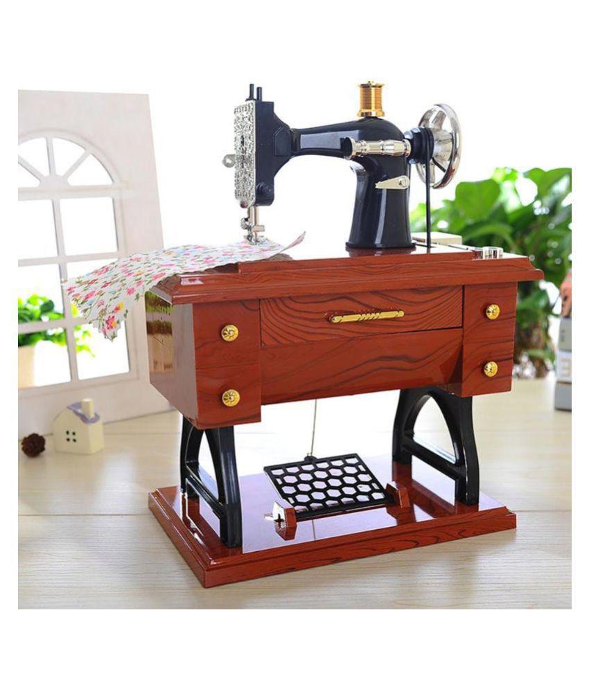 Creative Mini Vintage Retro Nostalgic Wood Sewing Machine Music Box Home Decor Clockwork Style Musical Toy Birthday Gift