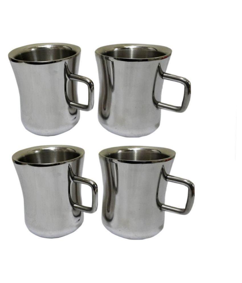 Dynore Steel Set of 4 Dhol Tea Cup 4 Pcs 100 ml each ml