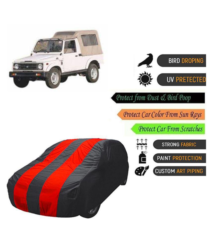 QualityBeast Car Body Cover for  Maruti Suzuki Gypsy King Mahroon Black
