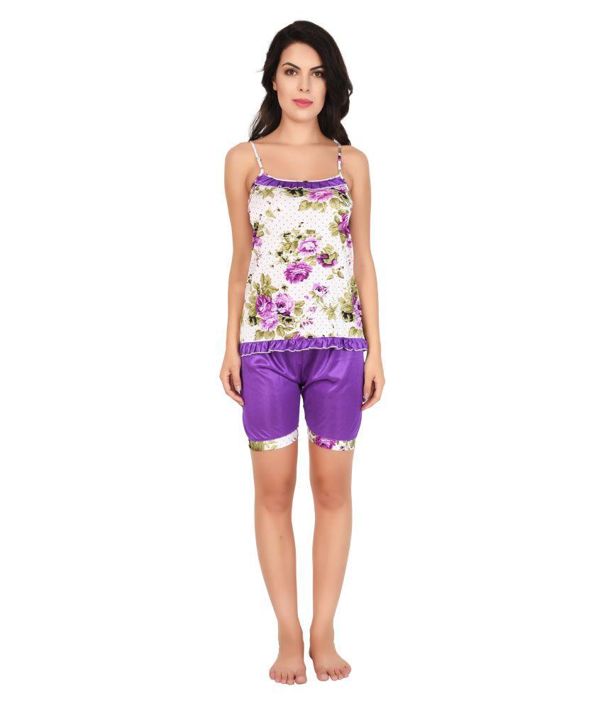 Ansh Fashion Wear Satin Nightsuit Sets - Purple