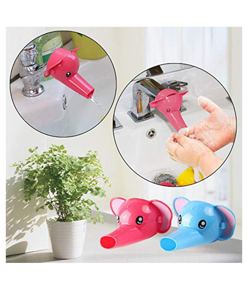 Safe-O-Kid- Pack of 4 - Fit-All, Colorful Kid's Hand Washing Faucet Extender/Tap Extender- Pink