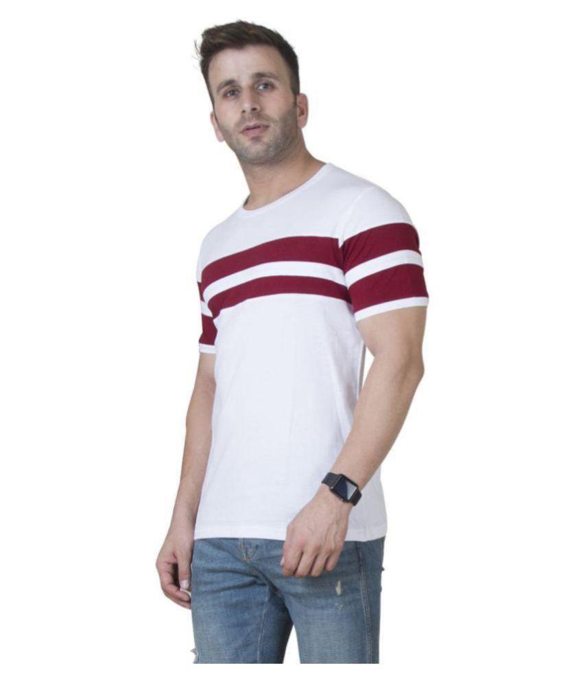 Veirdo 100 Percent Cotton White Striper T-Shirt