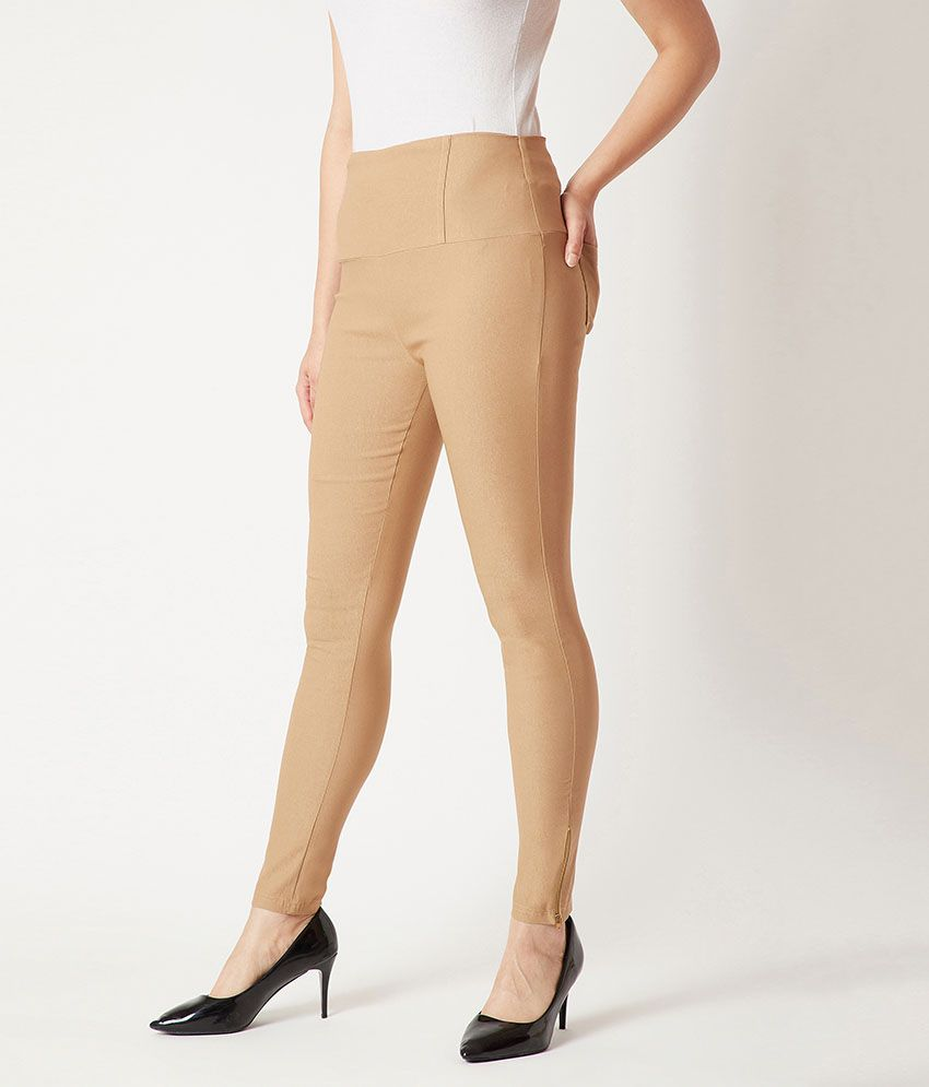 Miss Chase Polyester Jeggings - Beige