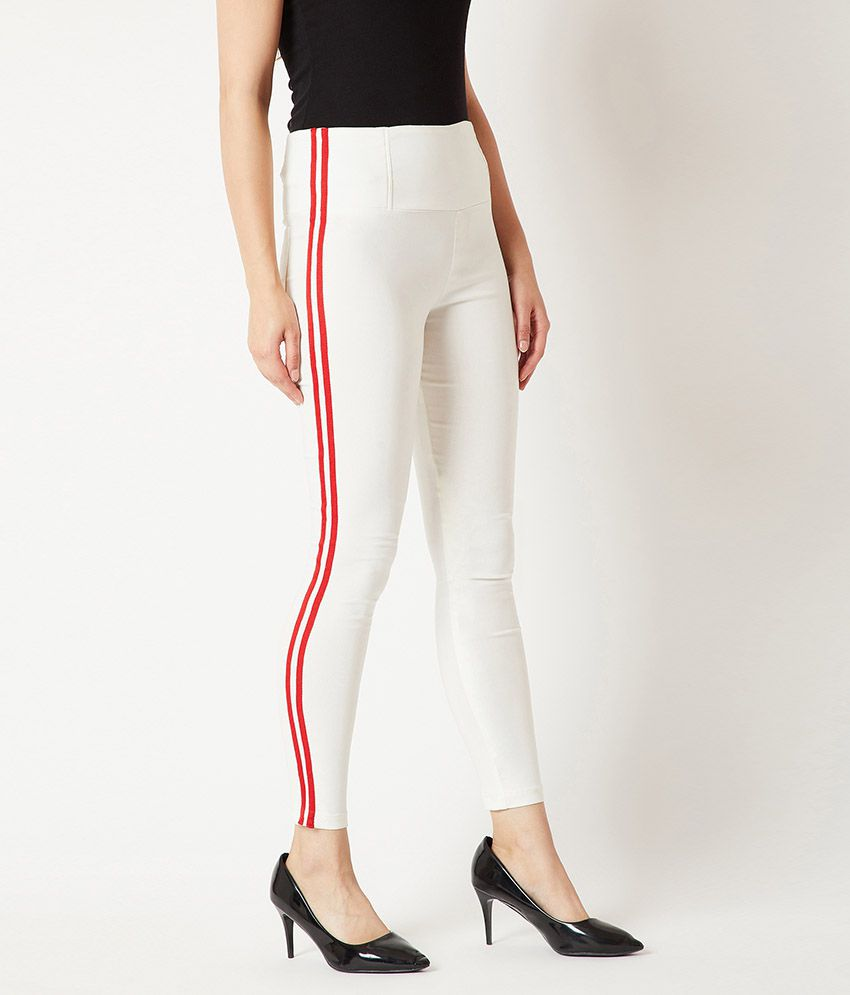 Miss Chase Polyester Jeggings - White