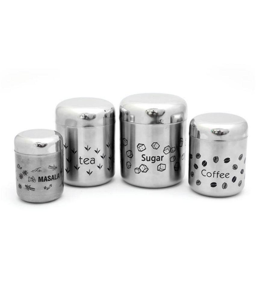 Coconut SS Matt Finish Steel Tea/Coffee/Sugar Container Set of 4 500 mL