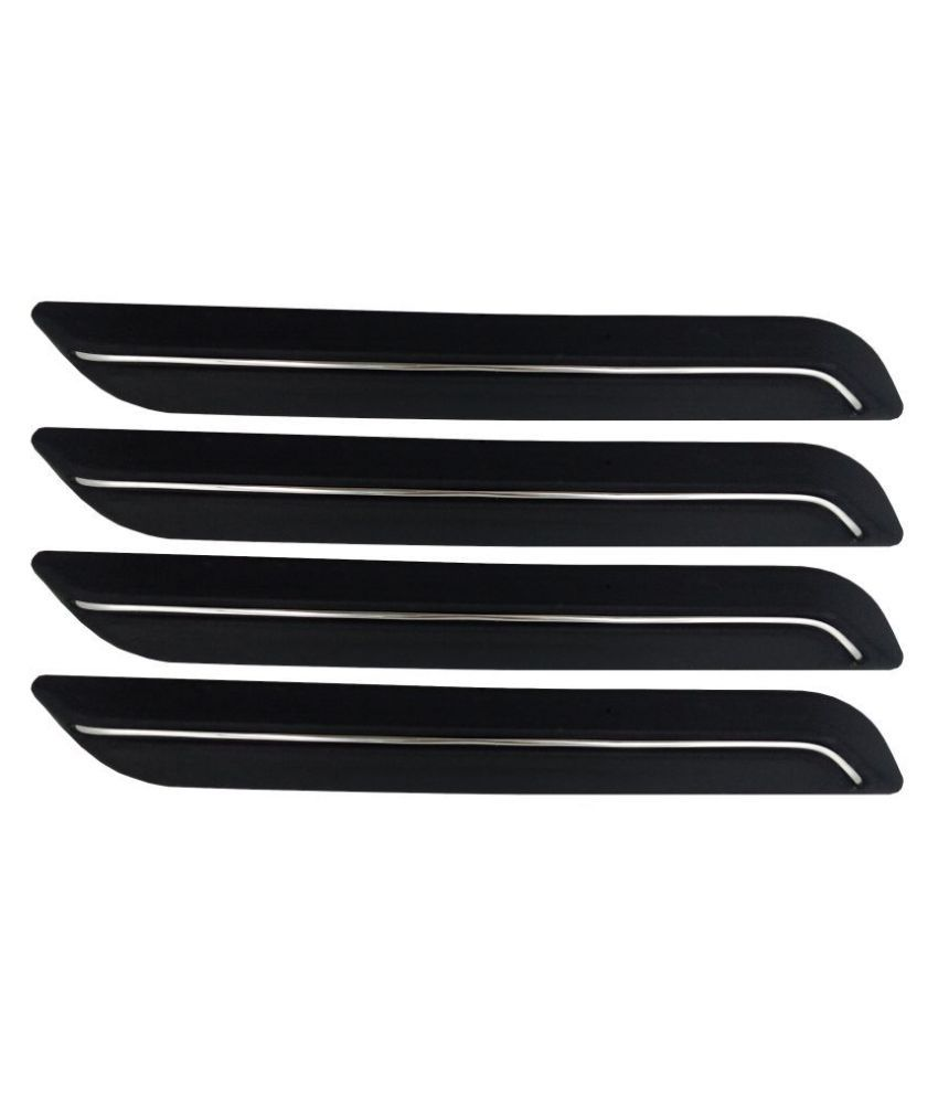 Ek Retail Shop Car Bumper Protector Guard with Single Chrome Strip (Light Weight) for Car 4 Pcs  Black for Tata Nano XM