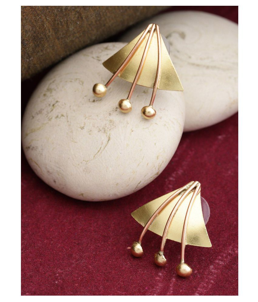 Priyassi Gold And Copper Geometric Shaped Stud Earring With Push Back For Women And Girls