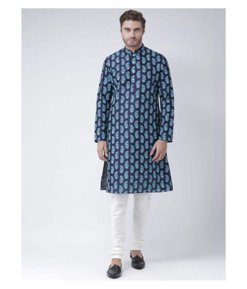 Deyann Navy Silk Blend Kurta Pyjama Set