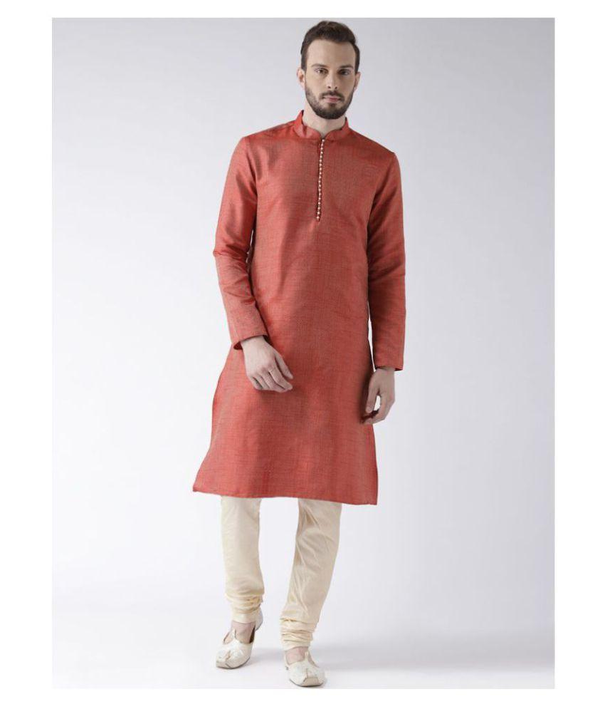 Deyann Red Silk Blend Kurta Pyjama Set