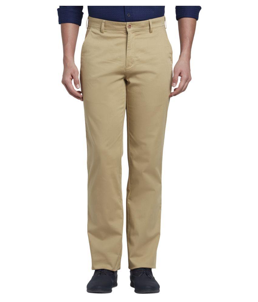Colorplus Khaki Slim -Fit Flat Trousers