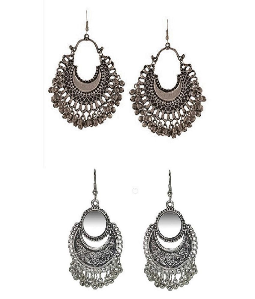 Pack Of 2 Pairs Of Hot Selling Artificial Jewellery Silver Classy Oxidised Afghani Earrings(Both Silver)
