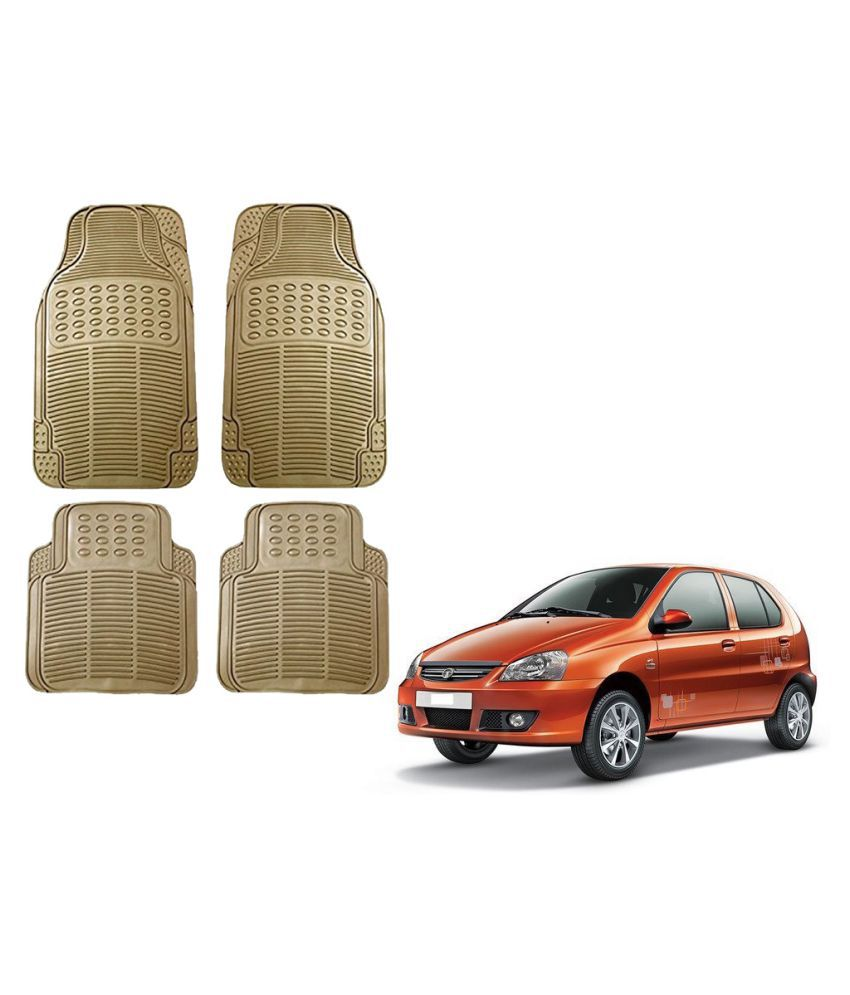 Auto Addict Car Simple Rubber Beige Mats Set of 4Pcs For Tata Indica