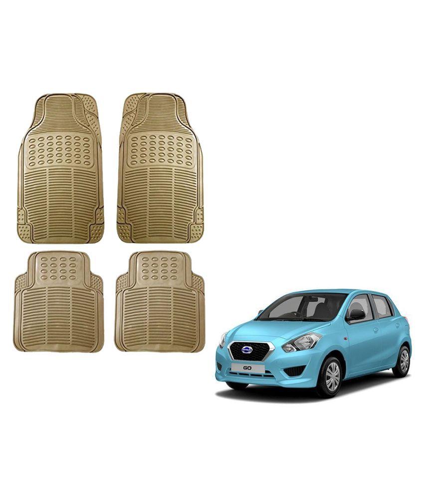 Auto Addict Car Simple Rubber Beige Mats Set of 4Pcs For Datsun Go